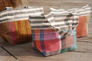 さをり織を使ったランチバッグ(ネパール)