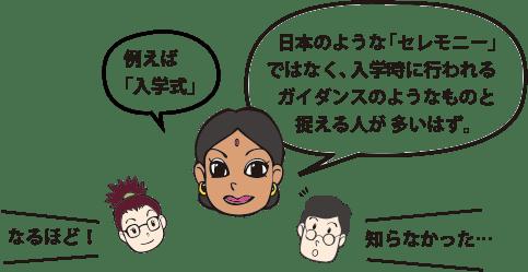 """「例えば""""入学式""""。日本のような「セレモニー」ではなく、入学時に行われるガイダンスのようなものと捉える人が多いはず。」"""