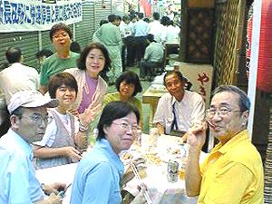 神戸演劇鑑賞会の皆さんと丸五市場ナイト屋台で会食