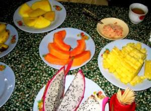 多様な種類のあるベトナムの果物