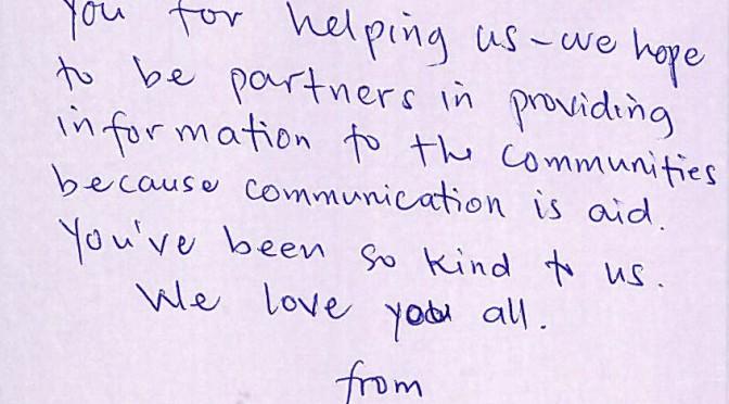フィリピンレイテ島のタクロバン(Tacloban)のラジオアバンテ(Radyo Abante)からの感謝状